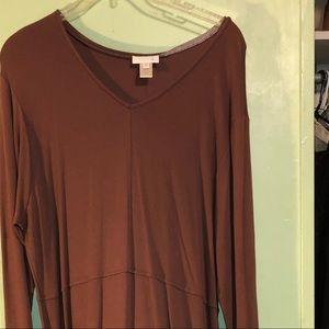 Long length brown dress